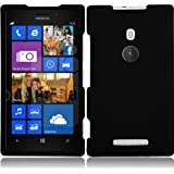 For Nokia Lumia 925 Rubberized Hard Snap On Cover Case Black Accessory
