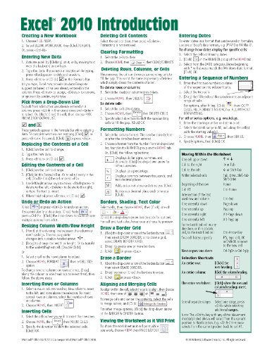 Microsoft Excel 2010 Introduction Quick Reference Guide (cheat Sheet Of Instructions, Tips & Shortcuts - Laminated Card) Picture