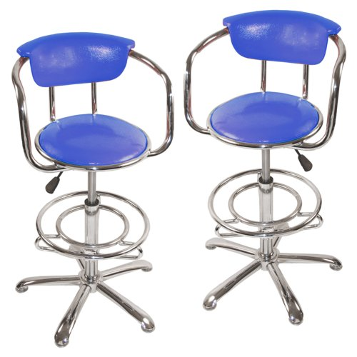 Walker Edison Retro Barstool - Dark Blue (set of 2)