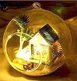 おしゃれな 球体ガラス 組立式 ミニチュアドールハウス 不思議の国の小屋 音感センサー搭載 プレゼントに 吊るせる 3