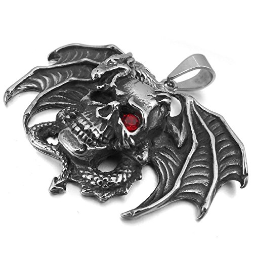 Kalendone Stainless Steel Red Eyed Skull with Bat Wing Necklace,Skull Necklace