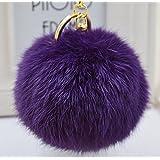 Cy3Lf Gold Plated Keychain Cute Genuine Rabbit Fur Ball Pom Pom Keychain for Car Key Ring Handbag Tote Bag Pendant Charm (Purple)