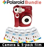Polaroid PIC-300R Instant Analog Camera (Red) 5 Packs of PIF-300 Instant Film for 300 Series Cameras