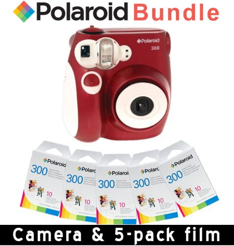 Polaroid PIC-300 Instant Camera in RED + 5 PACK OF PRINT PAPER
