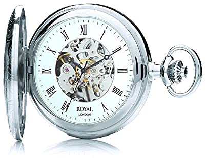 Royal London Pocket Watch 90009-02 Silver Tone Half Hunter