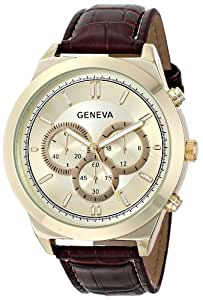Geneva Men's 8182C-GEN Gold-Tone Watch with Brown Faux Leather Band