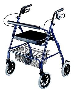ITA-MED 4-Wheel Heavy Duty Aluminum Rollator, 8-inch Wheels with Wheel Locks, Blue