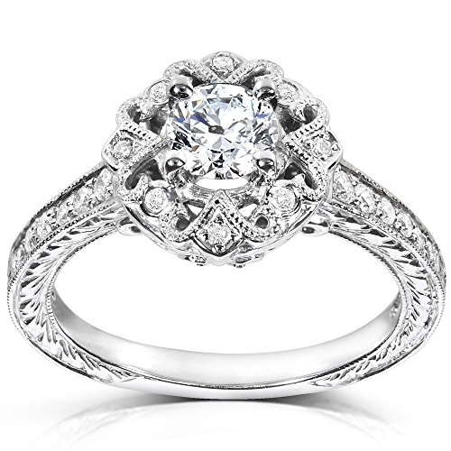 0.58 Carat Vintage Discount Diamond Engagement Ring with Round cut Diamond on 14K White gold