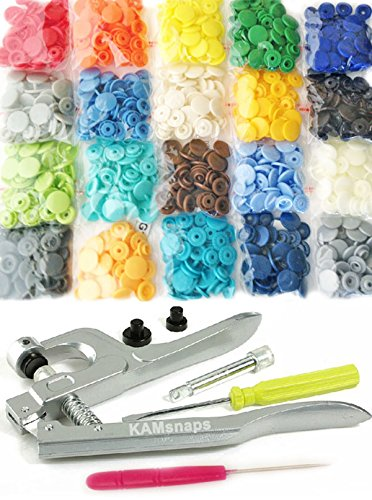 Review KAMsnaps® 20-Color Kit: 200 KAM Snaps and Snap Press Pliers for Plastic Snaps No-Sew Buttons...