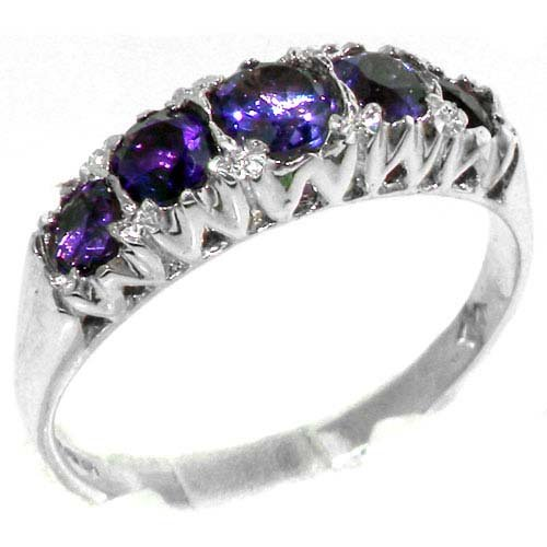 Solid English Sterling Silver Natural Amethyst Vintage Style Band Ring - Size 11.75 - Finger Sizes 4 to 12 Available - Suitable as an Anniversary ring, Engagement ring, Eternity ring, or Promise ring