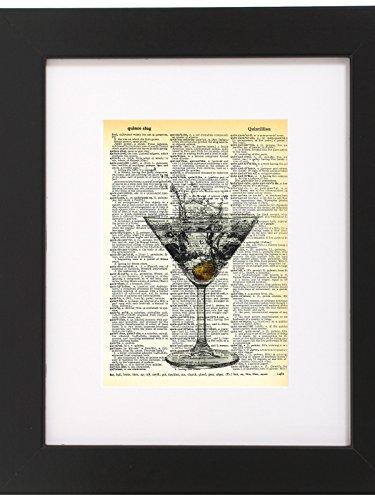 Dictionary Art Print Dirty Martini Glass Printed On