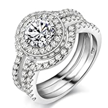 buy Newshe Jewellery 5Ct Triple Round White Cz 926 Solid Sterling Silver Engagement Wedding Band Ring Sets Size 8