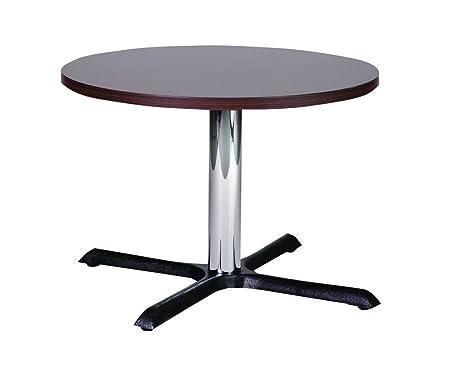 Roza 80cm rotonda wengé ghisa tavolino con colonna cromata