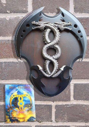 """14"""" 2 Pcs Detachable Dragon Dagger With Wood Plaque"""