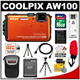 Nikon Coolpix AW100 Shock & Waterproof GPS Digital Camera (Orange) with 16GB Card + Battery + Case + Floating Strap + HDMI Cable + Flex Tripod + Kit