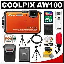 Nikon Coolpix AW100 Shock & Waterproof GPS Digital Camera (Orange) with 16GB Card + Battery + Case + Floating Strap + HDMI Cable + Flex Tripod + Kit
