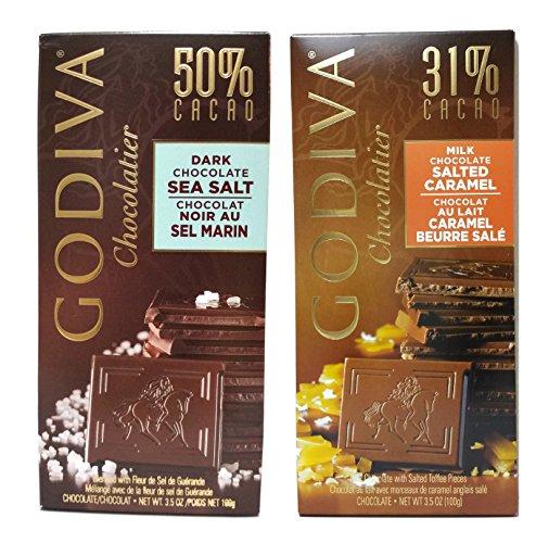 Godiva Chocolate Bar Variety 100g (Milk Chocolate Salted Caramel, Dark Chocolate Sea Salt, Pack of 2)