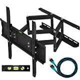 Cheetah Mounts 32&quot;-55&quot; Articulating LCD TV Wall Mount Bracket with Full Motion Swing Out Tilt & Swivel Dual Arms for Flat Screen Flat Panel LED Plasma Displays