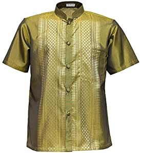 Men 39 s shirt short sleeve thai silk mandarin band collar for Mens silk shirts amazon