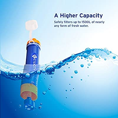 Etekcity 1500L Personal Water Filter Purifier Chemical Free: Filter to 0.01 Microns - Perfect Survival Gear