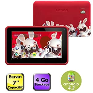 "Lenco Cooltab-72 Lapins Cretins Tablette tactile 7"" (17,78 cm) ARM Cortex A7 1,2 GHz 4 Go Android Jelly Bean 4.2.1 Wi-Fi Rouge"