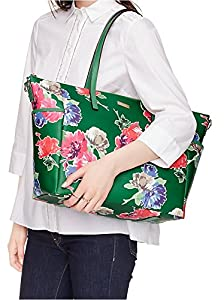 Kate Spade Grant Street Grainy Vinyl Adaira Baby Bag in Sprout Green Spring Blooms by Kate Spade