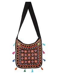 Rajrang Super Quality Cotton Embroidered Circles Black Sling Bag