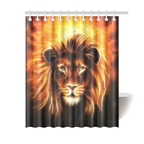 POEENG Custom Lion Head With Golden Mane Waterproof Polyester Shower Curtain 60