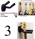 Top Stage® Lot of 3 Guitar Hangers Holder Rack Wall Mount Display with Screws, GRAK-Q3