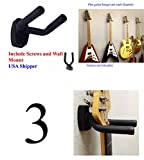 Lot of 3 Guitar Hangers Holder Rack Wall Mount Display with Screws, GRAK-Q3 Top StageTM