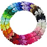 QingHan 40Pcs Baby Girl Grosgrain Ribbon Boutique Hair Bows For Teens Baby Girls Babies Toddlers