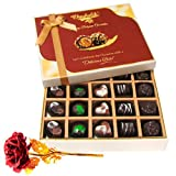 Charismatic Dark And Milk Chocolate Box With 24k Red Gold Rose - Chocholik Belgium Chocolates