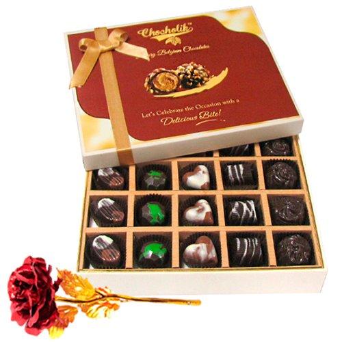 Charismatic Dark And Milk Chocolate Box With 24k Red Gold Rose - Chocholik Belgium Chocolates