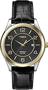 Timex T2P450GP Men's Dress Two-Tone Case and Black Leather Strap Wrist Watch