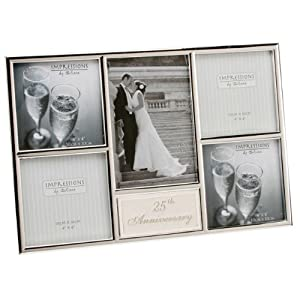 silver plated 25th wedding anniversary collage frame