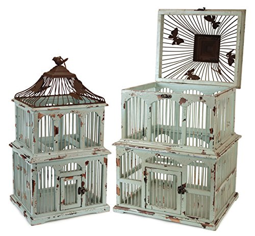 Rusty Metal and Teal Weathered Wood Decorative Bird Cages, Set of 2 0