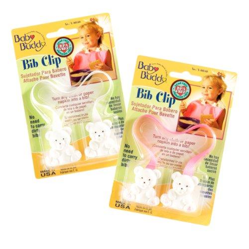 Baby Buddy - Clip per bavaglino, 0-36 mesi, 2 pz, colore: Rosa/Bianco