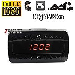 ZVision Full HD Night Vision 1080P Spy Alarm Clock IR Hidden Camera DVR Motion Detection CCTV