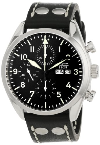 Laco 1925 Men's Automatic Watch with Black Dial Analogue Display and Black Leather Strap 861715