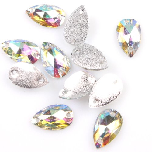 Waterdrop Clear AB Sew-on Faceted Resin Embellishment Beads Buttons Applique,150 (Sew On Clear Rhinestones compare prices)