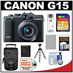 Canon PowerShot G15 Digital Camera (Black) with 32GB Card + Battery + Case + Flex Tripod + Accessory Kit