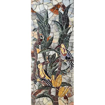ON SALE/Birds on a Plant Petal Marble Mosaic Stone Art Tiles Hand Made Wall Decor coupon codes 2015