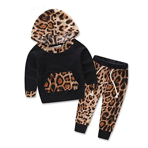 Leopard Baby Girls Clothes Newborn Infant Hooded Sweatshirt Tops+Pants Outfits