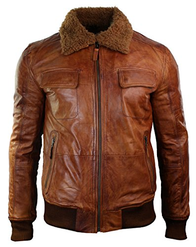 mens-washed-rust-tan-brown-removable-fur-collar-pilot-leather-jacket-slim-fit
