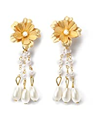 Aarya 24kt Gold Foil Flower With Pink Crystal Drop Earring For Women