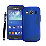 GSD STYLE YOUR MOBILE [TM] Samsung Galaxy Ace 4 SM-G357 / G357FZ Gel Rubber Silicone Protection Case Cover +STYLUS (Blue S Line Gel)