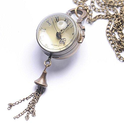 81stgeneration-Womens-Brass-Sphere-Steam-Punk-Vintage-Orb-Pocket-Watch-Pendant-Necklace-78-cm