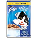 Felix As Good As It Looks Chicken in Jelly Wet Cat Food Pouch, 20x100g