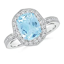 buy Antique-Style Diamond Framed Cushion Aquamarine Scroll Patterned Ring In 14K White Gold