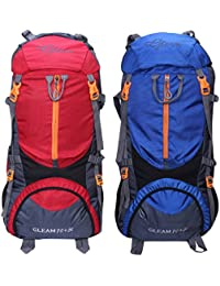 Gleam 0109 Climate Proof Mountain 75 Ltrs Red & Royal Blue Rucksack Backpackwith Rain Cover (set Of 2 Combo)